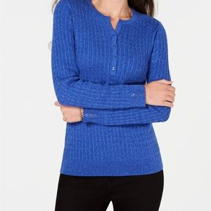 Karen Scott Cable-Knit Henley Sweater